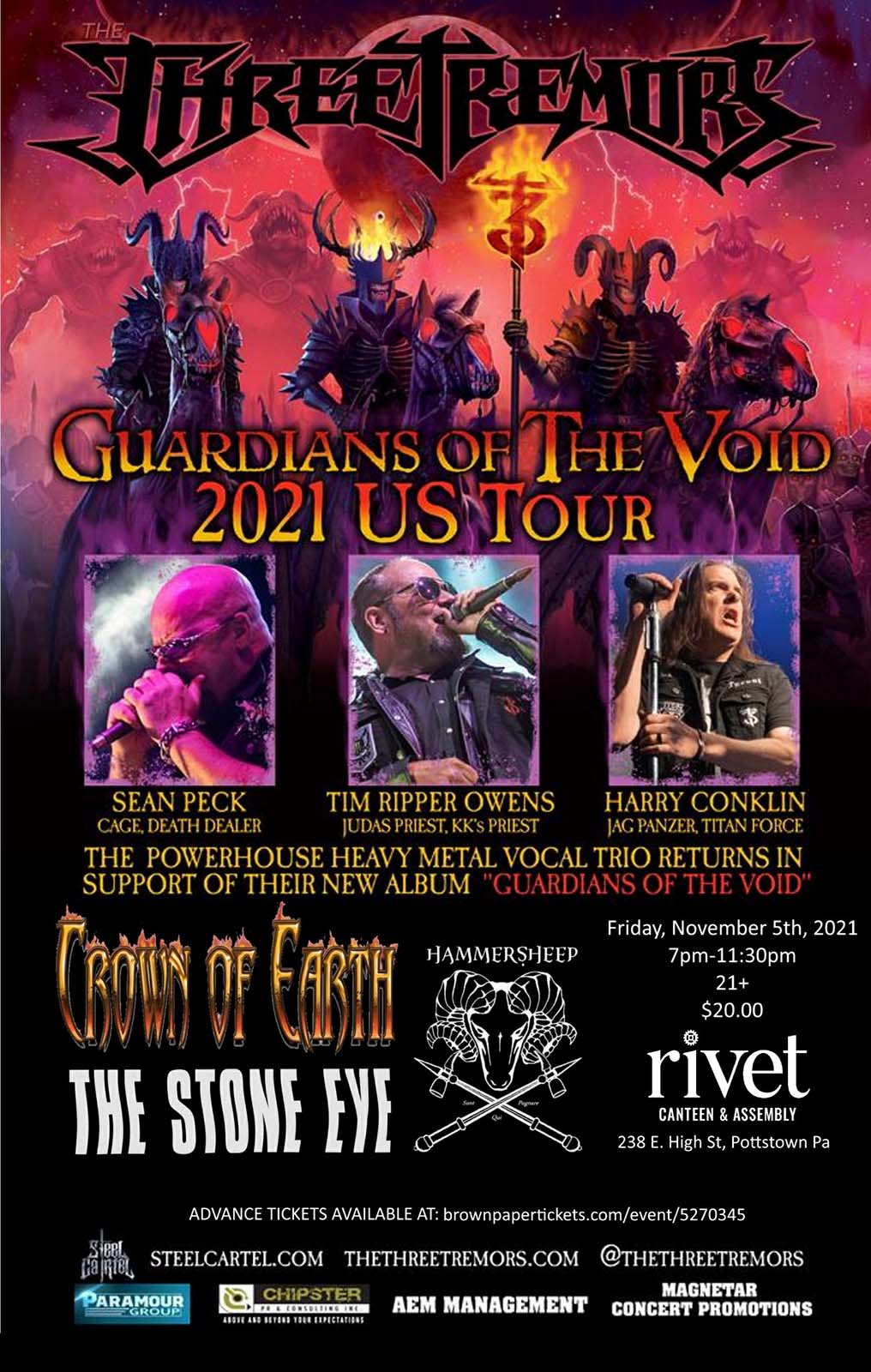 The Three Tremors: Guardians of The Voice 2021 US Tour Flyer. The band will be performing Live at Rivet: Canteen & Assembly in Pottstown, Pennsylvania on Friday, November 5th, starting at 7:30PM with bands Crown of Earth, Hammersheep, and The Stone Eye.